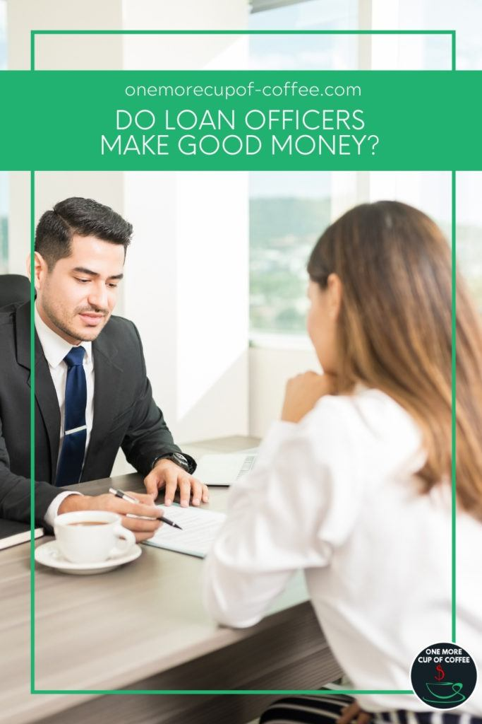 loan officer in suit with his client; with text overlay in green banner