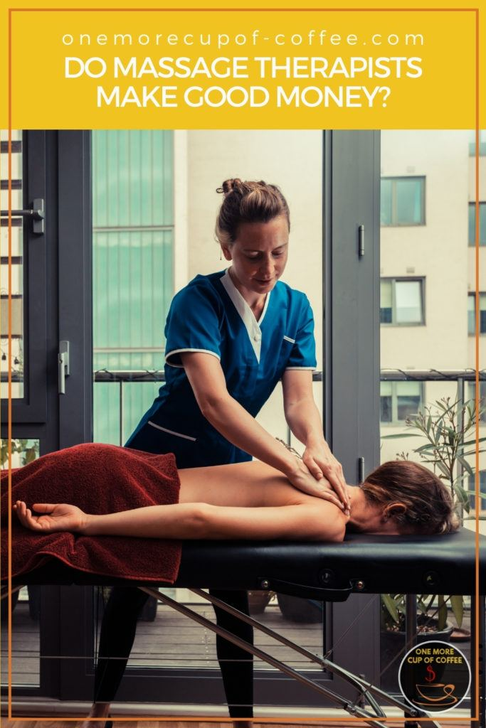 massage therapist in blue scrub suit massaging her client lying face down, with text overlay at the top in yellow banner