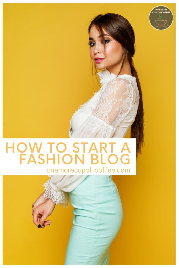 """a female model sporting a lacey long-sleeves top and figure fitting teal skirt, with text overlay """"How To Start A Fashion Blog"""""""