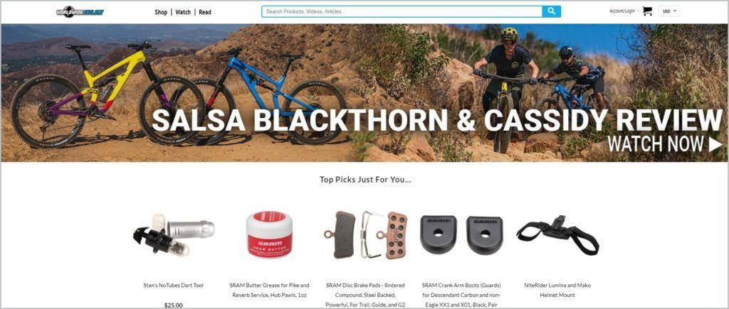 screenshot of Worldwide Cyclery homepage