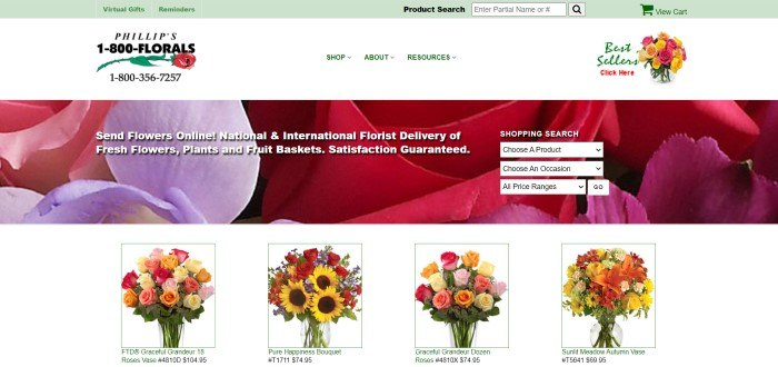 This screenshot of the home page for 1-800 Florals has a green header, a white navigation bar with a logo and black text, and a large main section with a closeup photo of flower petals in pink, lavender, and red behind white text and a search section with white field boxes, above a white row showing smaller product photos of several colorful autumn bouquets.