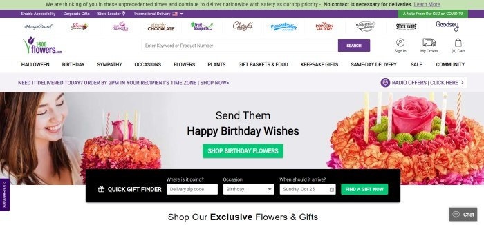 This screenshot of the home page for 1-800-Flowers.com has a green and purple header with white and black text above a white main section that includes a row of sister grand logos, a search bar, a navigation bar with black text, and a photo of a smiling woman holding a flower bouquet on the left side of the page, a similar flower bouquet on the right side of the page, and black text with a green call to action button in the center of the page above a black gift finder search bar.