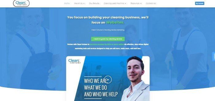 This screenshot of the home page for clean Fortune has a white navigation bar with white and blue text above a main section with a blue background, white and green text, a green call to action button, and a blue and white ad section with white and blue graphics, blue and black text, and a photo of a smiling man in a business suit.