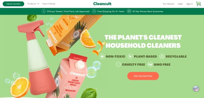 This screenshot of Cleancult has a white header with a dark green logo and button in the navigation bar, along with a dark green announcement bar above a large pale green section with a photo of a white and pink spray bottle, orange slices, orange and pink cartons of all-purpose cleaner, and white and green text with an orange call to action button.