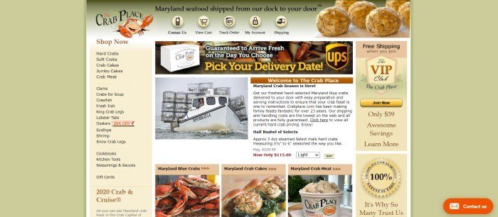 This screenshot of the home page of The Crab Place has a light green background and a main section with green and yellow highlights overlaying white sections, along with black text, a category list down the left side of the page, an announcement section on the right side of the page, and text with a photo of a fishing boat in the center of the page above a row of photos showing crabs, crab cakes, and a bowl of crab meat.