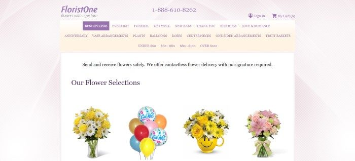 This screenshot of the home page for Florist One has a beige latticework background with a pale yellow header and purple text, as well as a white main section with black text and four small product photos showing flower and balloon bouquets.