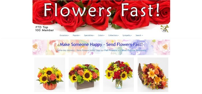 This screenshot of the home page for Flowers Fast has a header that includes a photo of red roses behind white lettering, a navigation bar with blue lettering, a multicolored announcement bar showing watercolor flowers behind blue text, and a row of product photos showing four multicolored autumn flower bouquets.