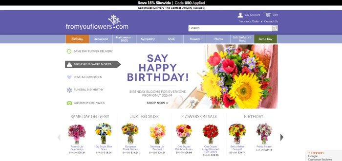 This screenshot of the home page for From You Flowers has a black and white header, a purple search bar, a purple and brown navigation bar with white text, and a white main section with a drop down category section on the left side of the page, a colorful flower bouquet on the right side of the page, and purple and black text down the center of the page, along with a row of colorful product photos featuring several types of flower bouquets along the bottom of the page.