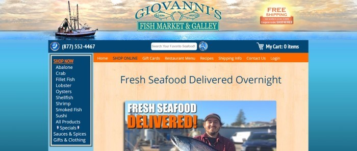This screenshot of the home page for Giovanni's Fish Market has a background with a fishing boat on the ocean at sunset behind a blue and green logo, a blue search bar, a blue category list down the left side of the page, an orange navigation bar with blue and white text, and a section with a background with the appearance of an overhead view of a pale wooden countertop behind a photo of a smiling fisherman with a large fish in his harms.