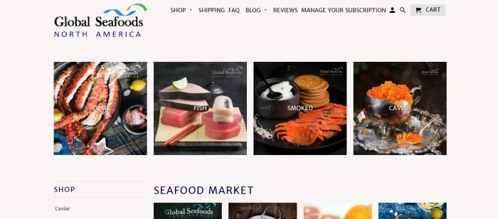 This screenshot of the home page for Global Seafoods has a gray background, black text in the navigation section, a logo in black, blue, and green in the upper right, and a main section with rows of photos showing crab, fish, smoked salmon, caviar, and other products.