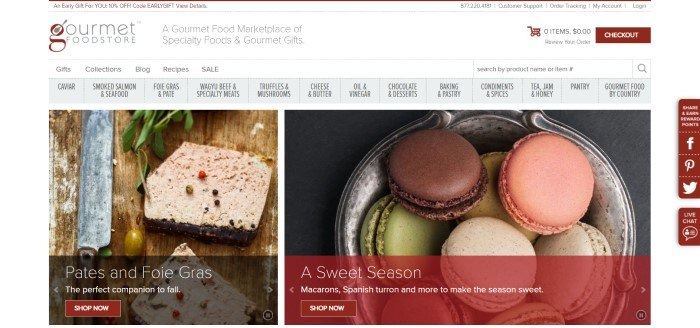 This screenshot of the home page for Gourmet Food Store has a white header with black text and burgundy elements, a gray navigation bar, and two large product photos showing pate on the left side of the page and a variety of macaroons on the right side of the page, both with burgundy call to action buttons.