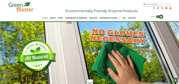 This screenshot of the home page of Green Blaster has a white header and navigation bar with text in black, orange, and green above a large photo of trees through a window with white trimming and a hand holding a green cleaning rag against the glass, along with orange text and a green circular graphic promoting all natural products.