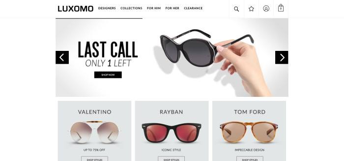 This screenshot of the home page for Luxomo has a white navigation bar and main section with black text, including a photo of a woman's hand holding a pair of sunglasses, and at the bottom of the page, a row of products showing different types of sunglasses from separate designers.