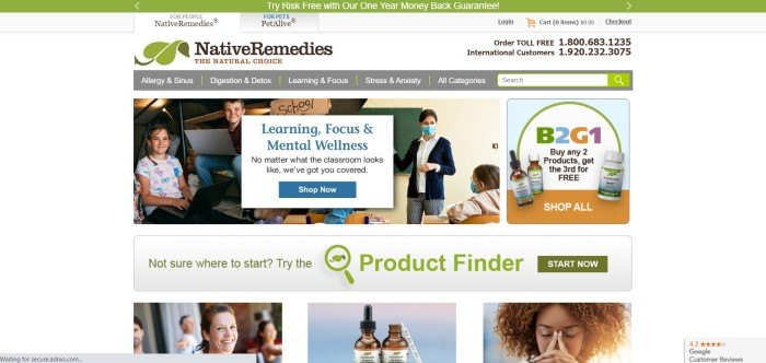 This screenshot of the home page for Native Remedies has a green header, a white header section with a green and brown logo, a gray navigation bar with white text, and a diagonally-combined photo showing smiling children on the left side and a classroom with children and a teacher in masks in a classroom on the right side, as well as a sales announcement on the far right side of the page and a white and blue text section with a blue call to action button overlaying the photos on the left side of the page, and a product finder below the main section.