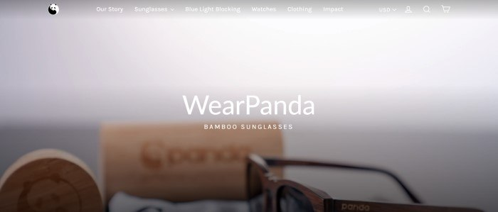This screenshot of the home page for WearPanda has a transparent navigation bar with white text and a WearPanda logo above a gray main section that fades to a photo of a pair of sunglasses next to a bamboo sunglasses case behind white text.