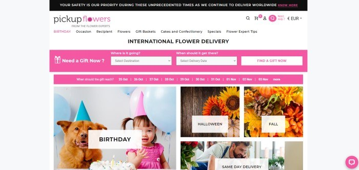 This screenshot of the home page for Pickup flowers has a black header with white text, a white navigation bar with black and pink text, a pink search bar, a pink announcement bar, and a row of photos showing small child and a dog in birthday hats behind pink and blue balloons and a birthday cake on the left side of the page, with photos of autumn bouquets on the right side of the page.