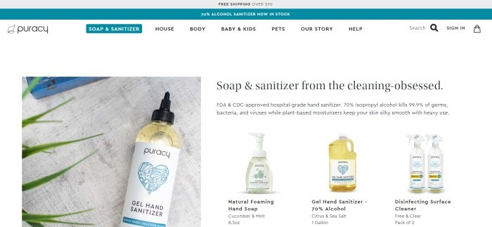 This screenshot of the home page for Puracy has a gray and teal header, a white navigation bar with black text and teal elements, and a white main section with a photo of gel hand sanitizer on the left side of the page, along with black text and small product photos on the right side of the page.