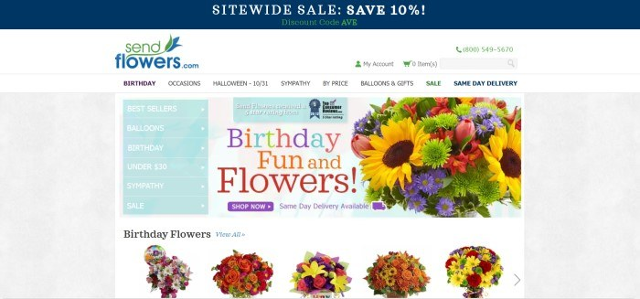 This screenshot of the home page for Send Flowers has a dark blue header above a white search bar and navigation bar with black text, above a main section with pale blue drop-down categories on the left side of the page and a white section with a photo of a colorful flower bouquet and multi-colored lettering on the right side of the page, as well as a purple call to action button.