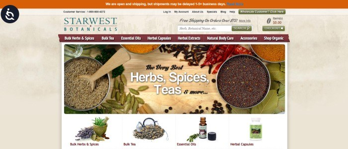 This screenshot of the home page for Starwest Botanicals has an orange header, a main section with a tan background, a burgundy navigation bar with white text, an overhead photo showing open canisters of loose herbs and teas, along with black and white text, and a row of product categories with photos depicting herbs, teas, oils, and capsules at the bottom of the page.