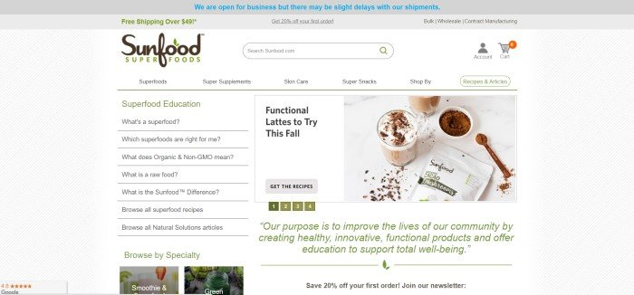 This screenshot of the home page for Sunfood Superfoods has a gray header, a white navigation and search bar, a main section with a background of diagonal gray lines, a list of superfood education topics in a column on the left side of the page, a photo of lattes on the right side of the page, and a white section with green text beneath the photo.
