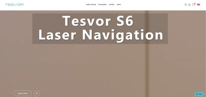 This screenshot of the home page for Tesvor has a white navigation bar with a blue logo above a tan main section with white text and a white and tan call to action button.