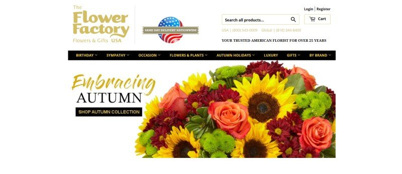 This screenshot of the home page for The Flower Factory has a gold logo in the upper left corner, a search bar in the upper right corner, a black navigation bar with gold text, and a white main section with gold and black text, including a black call to action button, on the left side of the page and a large photo of an autumn bouquet on the right side of the page.