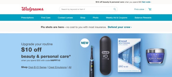 This screenshot of the home page for Walgreens has a gray header, a white search bar, a teal navigation bar with white text, another gray announcement bar, and a blue main section showing photos of products for tooth care on the right side of the page and black text on the left side of the page.