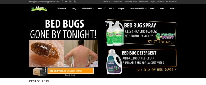 This screenshot of the home page for MyCleaningProducts has a black header, navigation bar, and upper main section with white text and green elements, above two side-by-side photos on the left side of the page of a bed bug and the back of a man with several bug bites, and on the right side of the page, a photo of bed bug spray and bed bug detergent, along with an orange call to action button at the bottom of the page.