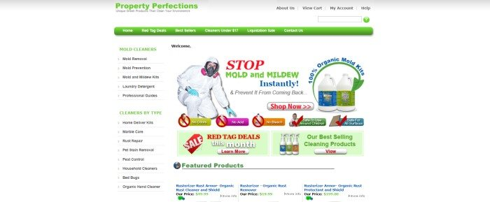 This screenshot of the home page for Property Perfections has a light gray header, a white main background text in black, green, and white, a green navigation bar, a list of categories along the left side of the page, a photo of someone in a white hazard suit in the middle of the page with red, green, and blue text and photos of bottles of mold cleaner, and at the bottom of the page, two green sale boxes with text in red, white, and green and white call to action buttons with red text.