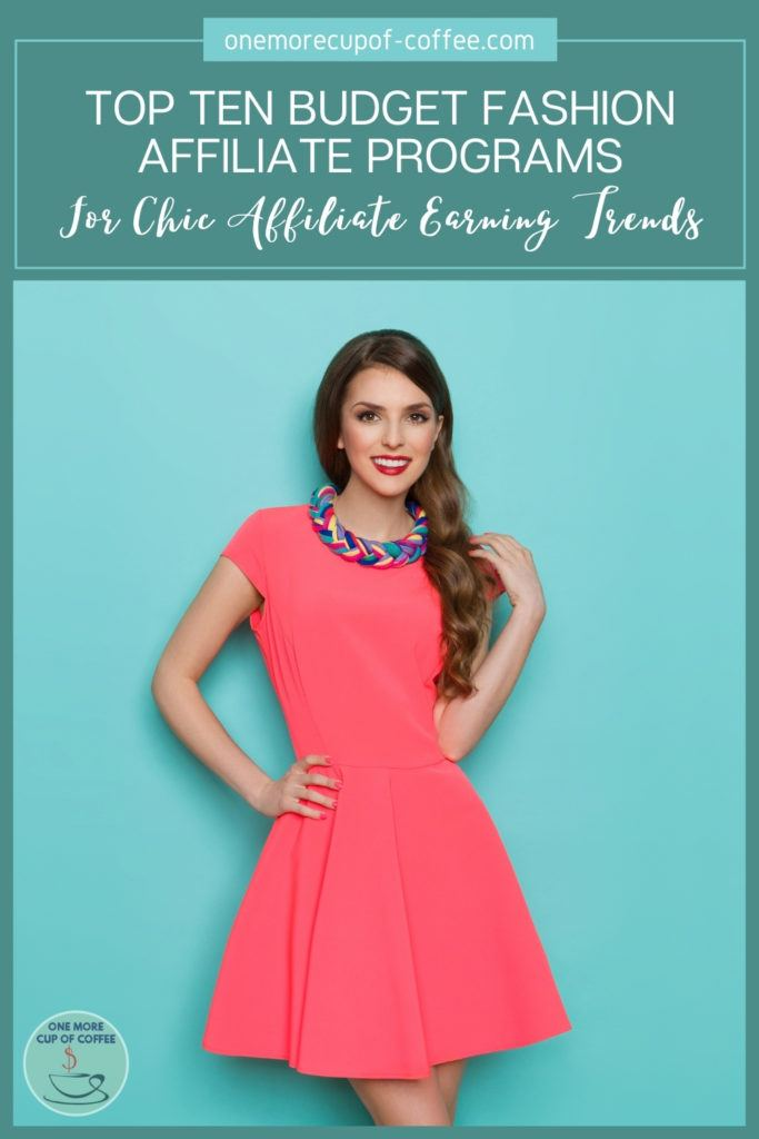 female model in pink dress posing against a teal background, with text overlay