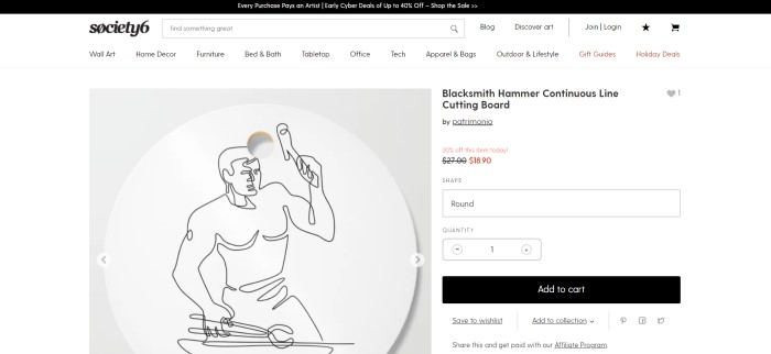 This screenshot of a product page for Society 6 has a black header and a white main section with black text, including a photo showing a continuous line drawing of a blacksmith featured on a cutting board on a white background, along with black and red text and an ordering section with a black call to action button on the right side of the page.