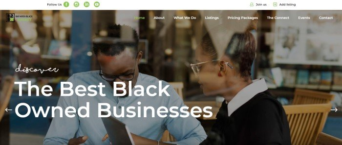 This screenshot of the home page for Bay Area Black Market has a white header with green icons and black text, a transparent navigation bar with green and white text, and a large photo showing two black business owners through a window pane, behind white text.