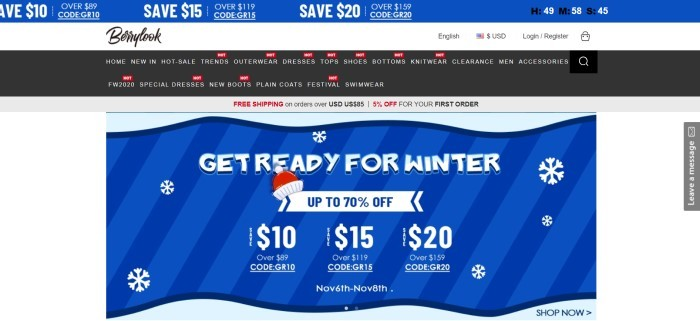 This screenshot of the home page for Berrylook has a royal blue header with white text, a white background, a black navigation bar with white text, and a royal blue main section with white text and red elements.