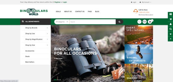 This screenshot of the home page for Binoculars World has a gray header, a white navigation bar with black text and a black and green logo, a green search bar, a department list on the left side of the page, and a large photo of binoculars lying against the foot of a bear near the hand of a man in camouflage clothing in a forest setting.