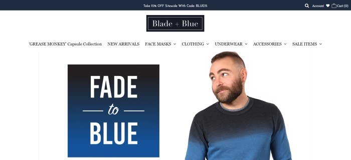 This screenshot of the home page for Blade + Blue has a dark header and logo, a white background with dark text in the navigation bar, a blue and white announcement section on the left side of the page, and a smiling bearded man in a blue and gray sweater on the right side of the page.