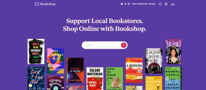 This screenshot of the home page for Bookshop has a blue background with white text and a white search bar, along with several book covers in many colors.