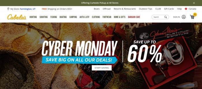 This screenshot of the home page for Cabela's has an olive green header above a white navigation bar with a yellow logo, along with a collage photo showing white lights, fleecy jackets, pine boughs, magazine covers, and bass pro packaging behind white and blue text and a white call to action button.