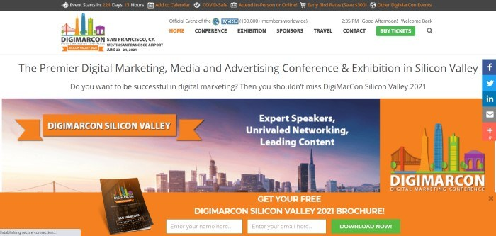 This screenshot of the home page for DigiMarCon San Francisco has a black header with orange and white text, a white navigation bar with black and orange text, a green call to action button, and a multicolored logo, and a white background in the main section with black text, an orange search section and orange and white announcements, and a photo of the San Francisco skyline at sunset.