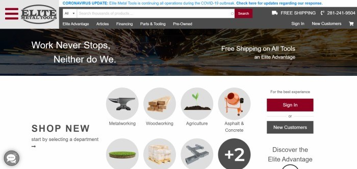 This screenshot of the home page for Elite Metal Tools has a gray, black, and red logo in the upper left corner with a gray and red search and navigation bar above an announcement section with white text overlaying a filtered photo of sparks flying from metal work and a white section with two rows of circular images representing shopping categories, including one with an anvil to represent metalworking.