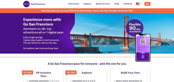 This screenshot of the home page for San Francisco has a white header with blue and orange elements, an orange announcement bar with white text, and a photo of the Golden Gate Bridge with a purple and white announcement section overlapping the photo on the left side of the page and a row of pass deals in white with purple text below the photos.