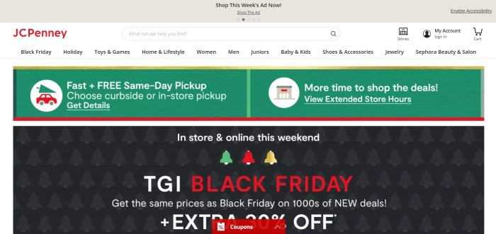 This screenshot of the home page for JCPenney has a gray header, a white navigation bar with a red logo, a green and red announcement section, and a black main section with white text and Christmas elements in red, green, and gold.