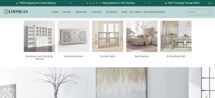 This screenshot of the home page for Loomlan has a dark green header, a lighter green navigation bar, and a white main section with several photos of light colored furniture in white rooms.