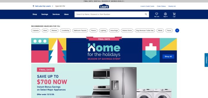 This screenshot of the home page for Lowes has a gray and white header, a blue and white search bar, and a white main section with a multicolored graphic announcement section, with a photo of a row of stainless steel appliances against a pale green background at the bottom of the page, along with pink and blue text and a pink call to action button.
