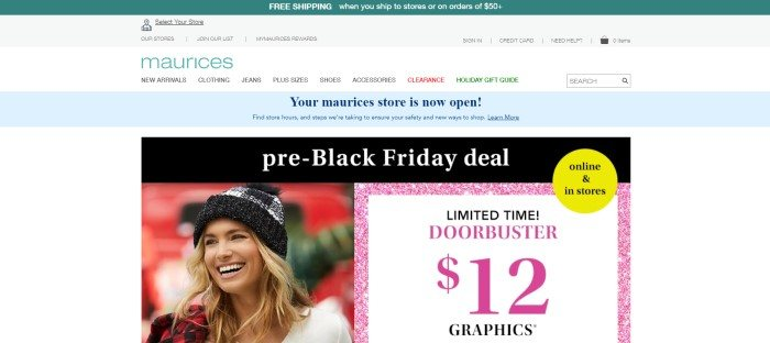 This screenshot of the home page for Maurices has a green header, a white navigation bar, a light blue announcement bar, and a white background with a black announcement section containing white text, a photo of a smiling blonde woman in a black and white beanie on the left side of the page, and a pink and white sales announcement on the right side of the page.