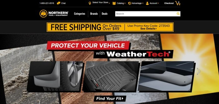 This screenshot of the home page for Northern Tool has a black header and navigation bar with white and black text and several yellow icons and an announcement section, as well as a search bar above a collage of photos showing tire tracks in ice and mud, tires, and other vehicle related photos with red and black announcement sections with white and red text.