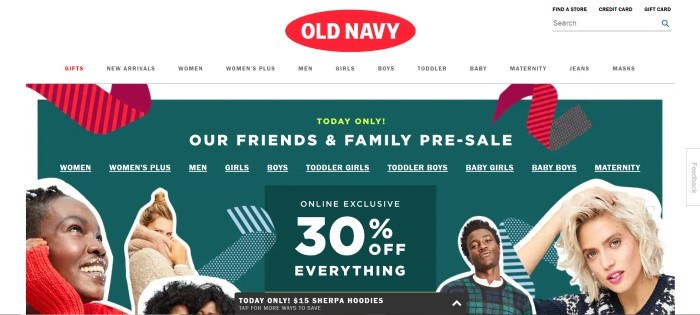This screenshot of the home page for Old Navy has a white header and navigation bar with a red and white logo above a dark green main section with white text and several cut out photos of smiling people wearing various fashions in red, tan, and blue.