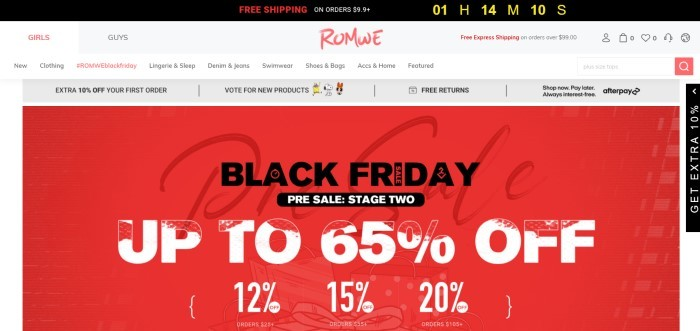 This screenshot of the home page for Romwe has a black header, a white navigation bar, a gray announcement section, and a large red main section with black and white text announcing a black Friday sale.