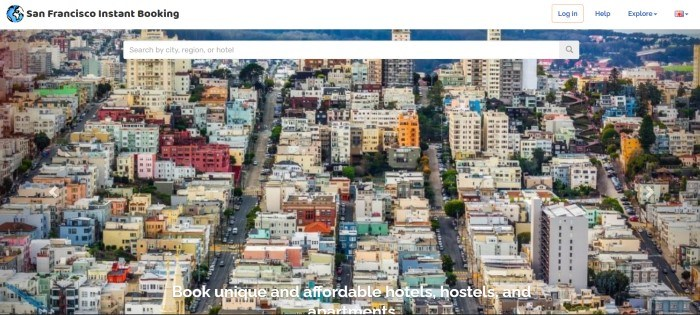 This screenshot of the home page for San Francisco Instant Booking has a search bar in front of a large aerial photo of San Francisco, along with a white header with black text and white text overlaying the photo.