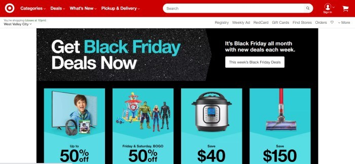 This screenshot of the home page for Target has a red navigation bar and search bar with white text, a white background, and a black main section with text in white and blue, as well as four blue sections showing products on sale with black text depicting the discounts.