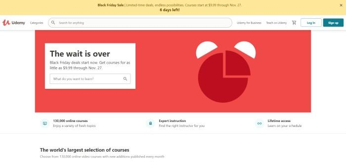 This screenshot of the home page for Udemy has a yellow header, a white search bar, and a white main section with a red announcement section and a secondary white search section with black text.